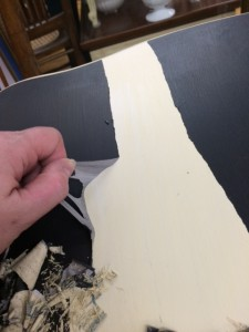 Actual image of painting over Annie Sloan waxed finish using Annie Sloan paint (Graphite with dark wax)